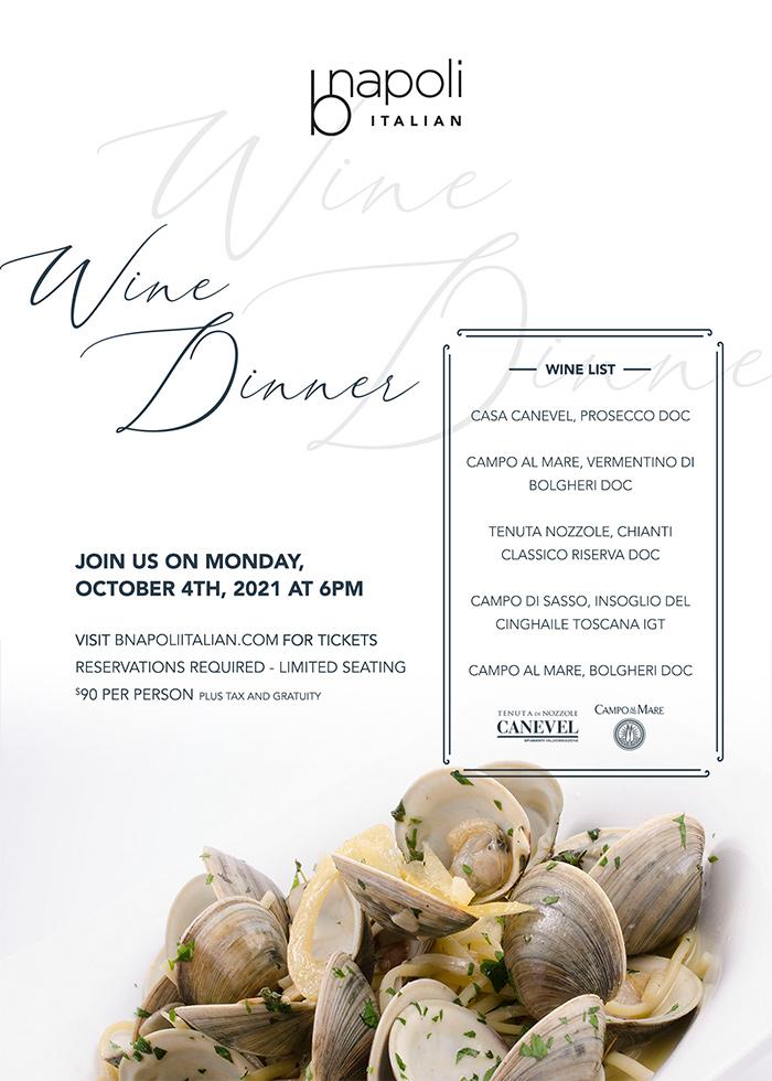 October 4th Wine Dinner